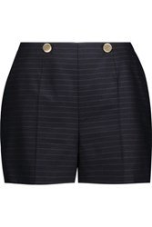 Sandro Pelma Striped Wool Shorts Midnight Blue