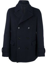 Z Zegna Double Breasted High Neck Coat Blue