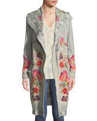 Johnny Was Sysen Hooded Duster Cardigan W Floral Embroidery Moss