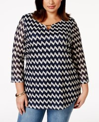 Jm Collection Woman Jm Collection Plus Size Chevron Pattern Crochet Top Only At Macy's