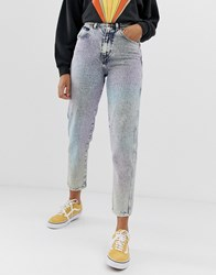 Wrangler Mom Jeans In Rainbow Stonewash Blue