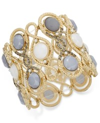 Inc International Concepts Gold Tone Gray Stone Filigree Stretch Bracelet Only At Macy's
