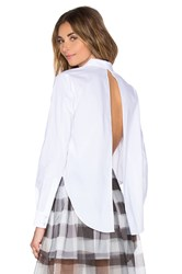 Kendall Kylie Open Back Button Up White