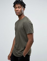 Only And Sons Distressed T Shirt With Curved Hem Olive Night Green