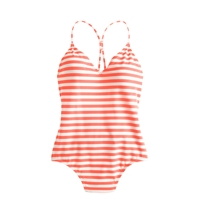 J.Crew Striped One Piece Swimsuit Neon Persimmon Ivory