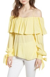 Elliatt Chorus Off The Shoulder Tie Sleeve Top Yellow