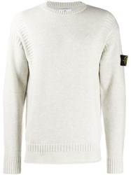 Stone Island Long Sleeve Fitted Sweater Neutrals
