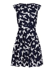 Yumi Butterfly Lace Cap Sleeve Dress Navy