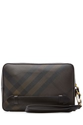 Burberry Shoes And Accessories Checked Fabric Clutch Brown