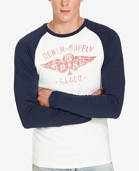 Denim And Supply Ralph Lauren Men's Graphic Long Sleeve Baseball T Shirt White