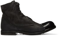 Officine Creative Black Bubble 24 Cap Toe Boots