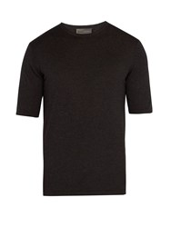 Kilgour Short Sleeved Silk Blend Sweater Charcoal