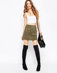 Asos A Line Suede Mini Skirt With Contrast Stitch And Button Through Khaki