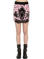 Fausto Puglisi Wool Crepe Mini Skirt W Lace And Leather Pink