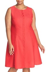 London Times Plus Size Women's Lace Inset Sleeveless Fit And Flare Dress