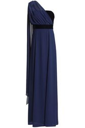 Mikael Aghal One Shoulder Draped Chiffon And Velvet Gown Navy