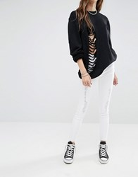 Noisy May Lucy Ankle Grazer Jeans With Rips And Raw Hem Bright White