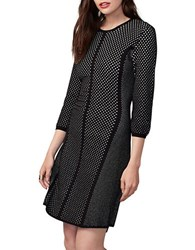 Rachel Roy Jacquard Mesh Sweater Dress Black White