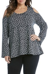 Karen Kane Plus Size Women's Cold Shoulder Print Top