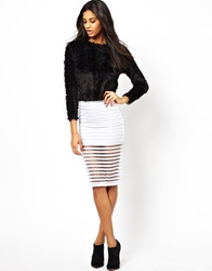 Asos Pencil Skirt In Sheer Stripe White