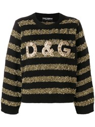Dolce And Gabbana Tinsel Striped Jumper Black