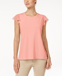 Charter Club Flutter Sleeve Top Only At Macy's Light Blush