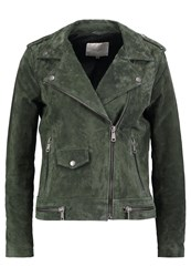 Selected Femme Sflore Leather Jacket Forest Night Dark Green