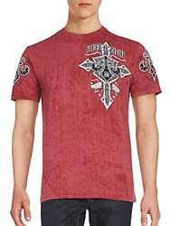 Affliction Lifeline Printed Crewneck Cotton Blend Tee Red