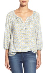Women's Caslon Henley Peasant Blouse Blue Colony Print