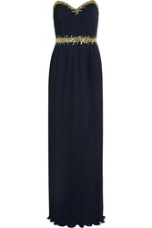 Mikael Aghal Embellished Plisse Georgette Gown Blue