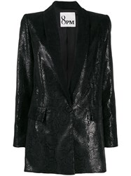 8Pm Snakeskin Effect Faux Leather Blazer Black