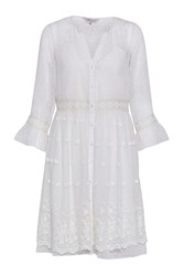 Great Plains Dobby Spot Floral Embroidered Dress Cream