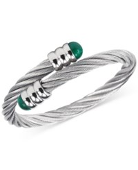 Charriol Women's Celtic Malachite Accent Stainless Steel Cable Bangle Bracelet 04 01 1165 4 Silver
