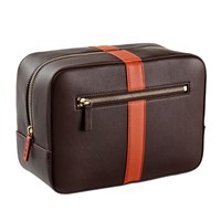Stow Luxury Soft Leather Men's Wash Bag In Smoky Quartz Brown