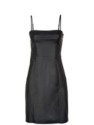 T By Alexander Wang Fitted Strappy Leather Dress Black Black