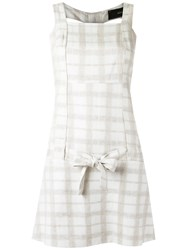 Andrea Bogosian Plaid Dress Women Linen Flax Viscose Wool M White
