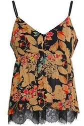 Love Sam Woman Chantilly Lace Trimmed Floral Print Georgette Camisole Black