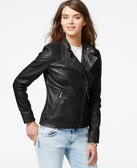 Guess Asymmetrical Zip Front Leather Jacket Black