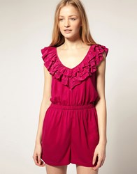 French Connection Playsuit With Frill Detail Purple