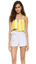 Jacquemus Two Triangles Striped Crop Top Yellow White Stripes