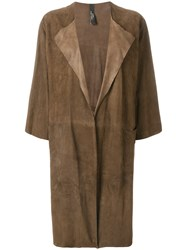 Giorgio Brato Long Open Front Coat Brown