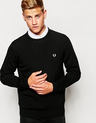 Fred Perry Jumper With Crew Neck In Merino Wool Black