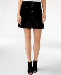 Guess Tamara Button Front A Line Skirt Jet Black