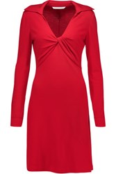 Diane Von Furstenberg Twist Wool Jersey Dress Red