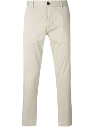 Armani Jeans High Rise Tapered Chinos Nude And Neutrals