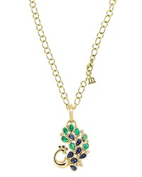 Temple St. Clair 18K Yellow Gold Peacock Pendant With Blue Sapphire Emerald And Diamond Gold Multi