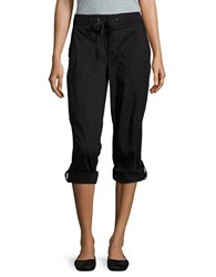 Lord And Taylor Stretch Poplin Roll Up Pants Black Noir
