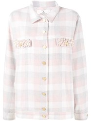 Natasha Zinko Pearl Embellished Check Shirt Pink Purple