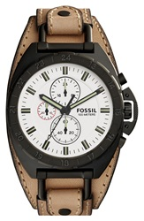 Fossil 'Breaker' Chronograph Leather Cuff Watch 45Mm Sand Black