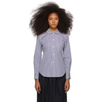 Comme Des Garcons Girl Navy And White Striped Peter Pan Collar Shirt